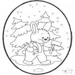 Coloriages Noël - Noël carte de piqûre 18