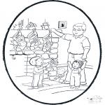 Coloriages Noël - Noël carte de piqûre 6