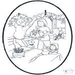 Coloriages Noël - Noël carte de piqûre 8