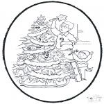 Coloriages Noël - Noël carte de piqûre 9