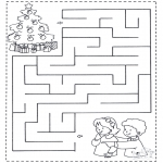 Coloriages Noël - Noël labyrinthe 1