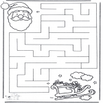 Coloriages Noël - Noël labyrinthe 2