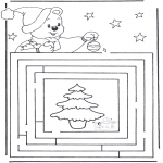 Coloriages Noël - Noël labyrinthe 3