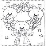 Coloriages Noël - Noël ours