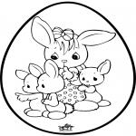 Coloriage thème - Oeuf de Pâques - Dessin à piquer 1