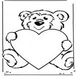 Coloriages faits divers - Ours avec coeur
