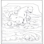Coloriages d'animaux - Ours blanc avec petit
