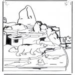 Coloriages d'animaux - Ours blanc et otarie