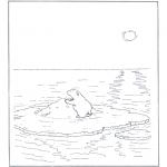 Coloriages d'animaux - Ours blanc sur banquise