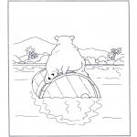 Coloriages d'animaux - Ours blanc sur tonneau