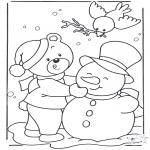 Coloriages hiver - Ours dans la neige