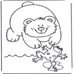 Coloriages d'animaux - Ours et grenouille