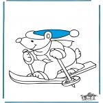 Coloriages hiver - Ours fait du ski