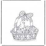 Coloriage thème - Panier de Pâques