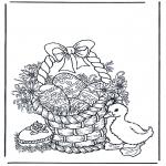 Coloriage thème - Panier rempli d'oeufs de Pâques