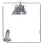 Bricolage coloriages - Papier à lettres bâtiments