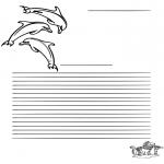 Bricolage coloriages - Papier à lettres dauphin