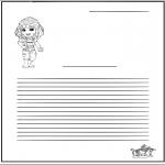 Bricolage coloriages - Papier à lettres - fille