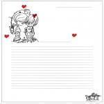 Coloriage thème - Papier à lettres Saint Valentin