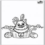 Coloriage thème - Pâques - chien