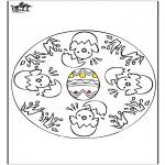 Coloriage thème - Pâques - mandala 1