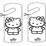 Bricolage coloriages - Pendant de porte - Kitty