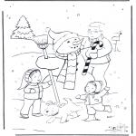 Coloriages hiver - Père avec bonhomme de neige