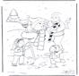 Père avec bonhomme de neige