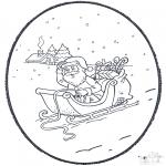 Bricolage cartes de piquer - Père Noël carte de piqûre