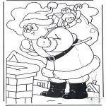 Coloriages Noël - Père Noël chez cheminée