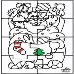 Coloriages Noël - Père Noël - Puzzle