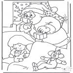 Coloriages Noël - Père Noël se glisse