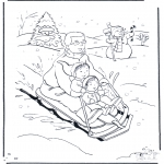 Coloriages hiver - Père sur la luge