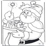 Coloriages Noël - Pères Noël  avec bâton