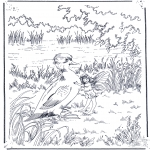 Coloriages d'animaux - Petit canard et elfe
