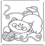 Coloriages d'animaux - Petit chat avec pelote de laine