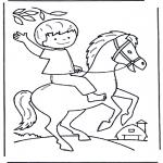 Coloriages pour enfants - petit garçon au cheval