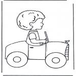 Coloriages pour enfants - Petit garçon en voiture