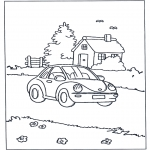 Coloriages pour enfants - Petit maison et voiture