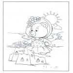 Coloriages pour enfants - petit ours à la plage