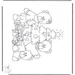 Coloriages Noël - Petit ours chez arbre de Noël