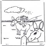 Coloriages d'animaux - Petite fille avec âne
