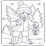 Coloriages hiver - Petite fille et arbre