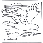 Coloriages Bible - Pigeon de l'arche de Noah