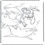 Coloriages d'animaux - Plonger chez des dauphins