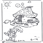 Coloriages pour enfants - Plop devant sa petite maison