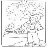 Coloriages hiver - Points à relier - hiver 1