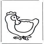 Coloriages d'animaux - Poule 1