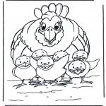 Coloriages d'animaux - Poule avec poussins