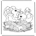 Coloriage thème - Poules avec oeufs de pâcques